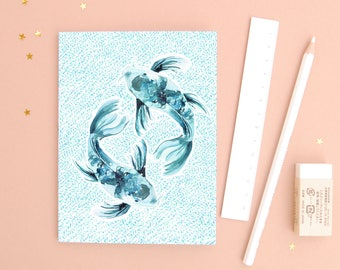 The Fish - Recycled Paper Notebook - Dotted pages - stationery - zodiac gift