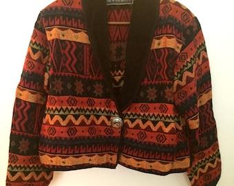 Vintage Southwestern Aztec Style Pendleton Inspired Cropped Jacket