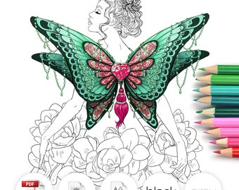Adult Coloring Page Fantasy Butterfly Line Art