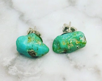 Raw Turquoise Earrings • Turquoise Studs • Silver Plated • Boho Earrings