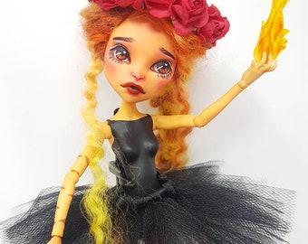 Fiamma- Circus Fire Breather OOAK Monster High Repaint Art Doll