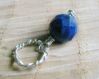 Cobalt Blue Gemstone Pendant - Lapis Pendant - Silver Wire Wrapped Pendant - Rustic Fashion