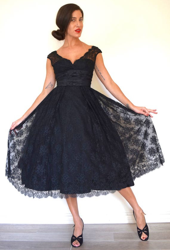 Vintage 50s Black Lace Illusion Neckline New Look Fit and Flare Party Dress (size xs, small)