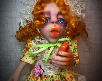 Gretchen, ooak, ooak art doll, one of a kind, handmade doll, gothic art doll, polymer clay sculpture, posable doll,