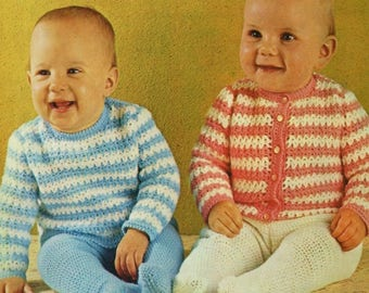 Baby Sweater And Cardigan, Crochet Pattern. PDF Instant Download.