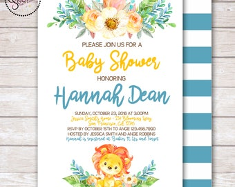 Watercolor Lion and Flowers Baby Boy Shower Invitation DIGITAL OR PRINTED