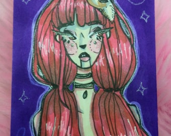 Red Head ACEO / ATC by Ellieartx - long red hair illustration drawing