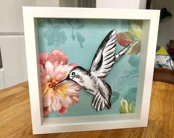 Hummingbird (blue green floral)