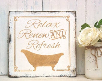 Relax, Renew, Refresh bathroom sign, rustic wood bath sign, cabin bath sign, powder room sign, spa sign, wood bath sign cottage bath decor