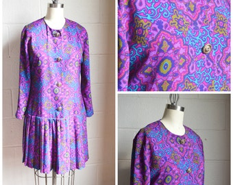 Vintage Dress 1970s Blue and Purple Print Dress with Gold Buttons Drop Waist by Leslie Fay Size Medium Cute Easter Dress