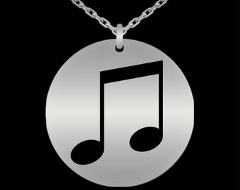 Valentine's Gift For Musician, Music Lover, Her, Daughter - Music Necklace - Music Note Jewelry - Laser Engraved Stainless Steel Necklace