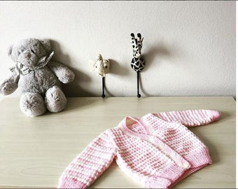 Pink and White Cardigan. 0-3 Months . 100% New Zealand Wool