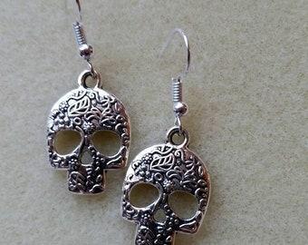 Earrings, Silver skull earrings, Skull earrings, Sugar skull earrings, Silver earrings, Silver skulls, Skull charm earrings, Skull charms
