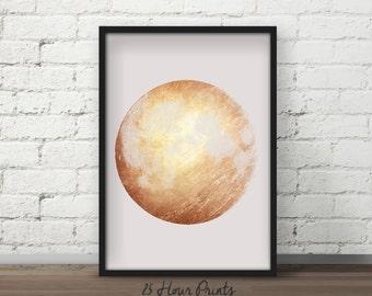 Instant Download Gold Moon Art Print - Printable - Digital Prints - Lunar Art - Moon Art Print - Gold Foil - Moon Print - Wall Art - Prints