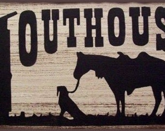 Outhouse Horse & Dog Western Primitive Rustic Distressed Country Wood Sign Home Decor