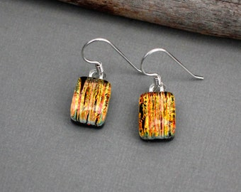 Orange Earrings - Unique Earrings - Dangle Earrings - Drop Earrings - Fused Glass Earrings - Dichroic Glass Earrings
