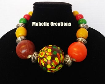 Bold chunky necklace, colorful statement necklace, african ethnic necklace, boho necklace, short wood beaded necklace, tribal necklace