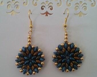 Gold & Teal Earrings