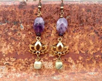 Lotus Flower Earrings with Amethyst and Jade