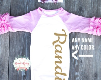 Personalized Shirt, Shirt with Name, Baby Girl Shirt, Baby Girl Outfit, Hospital Outfit, Newborn Pictures Outfit
