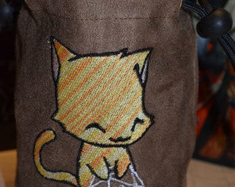 Dice Bag D20 Yellow Tabby Cat Embroidered suede