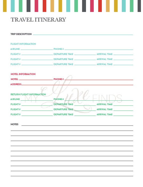 Travel Itinerary & Notes Information Printable Home