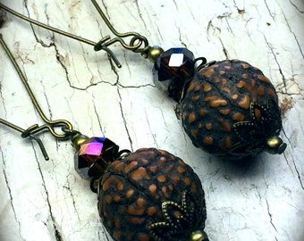 Brass Earrings, Brass Dangle Earrings, Resin Seed Pod Earrings, Faceted Glass Earrings, Topaz Earrings, Nickel Free, Nature, Seed Pod
