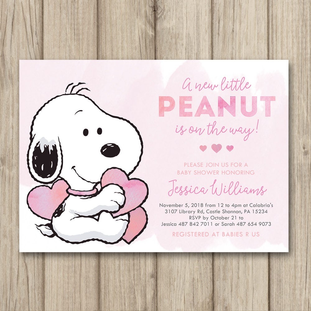 Snoopy Baby Shower Invitation Peanuts Baby Shower Invitation