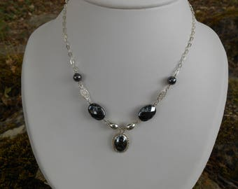 Necklace Silver 925, hematite necklace, necklace, hematite beads, handmade necklace, women gift, wife birthday