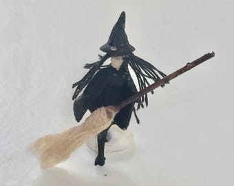 Witch with Broom HO Scale  Model Train Figure Perfect for Planter or Terrariums