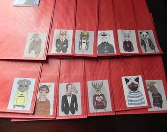 12 Kraft envelopes animal costume red 12 x 20 cm
