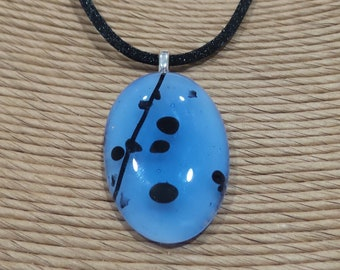 Blue Glass Necklace, Black Stripe and Spots, Fused Glass Pendant, Ready to Ship Jewelry on Etsy - Misty Morning -3311-5
