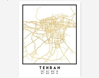 Tehran Map Coordinates Print - Iran City Street Map Art Poster, Gold Tehran Map Print, Tehran Iran Coordinates Persian Poster Map Print Art