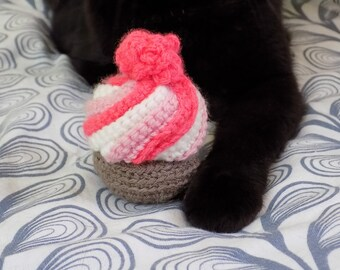 Toy for cats. Kawaii Rose Cupcake with cat grass. Handmade amigurumi