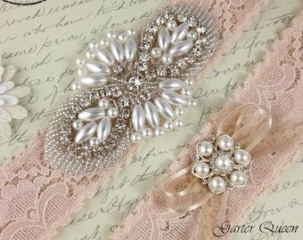Bridal Garter Set, Blush Wedding Garter Set, Blush Lace Wedding garter, Lace Bridal Garter, Personalized Lace Garter Set