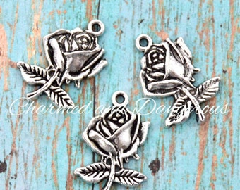 10 pewter Rose charms (CM245)