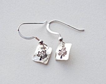 Tree of Life Earrings, Tree Earrings, Charm Earrings, Small Silver Earrings, Square Earrings, Cute Earrings, Tree earrings, Square Earrings