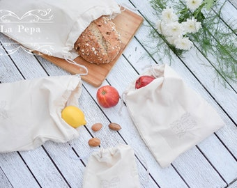 Eco Chic | Set of 5 Reusable 100% Cotton Produce Bags | Zero Waste Shopping Bags | Eco-Friendly Produce Bags