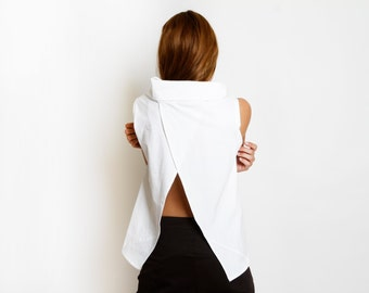 Wide Cowl Neck, White geometric top, sleeveless shirt, Open Back shirt, loose fit, summer top, minimal style, short top, straight cut top