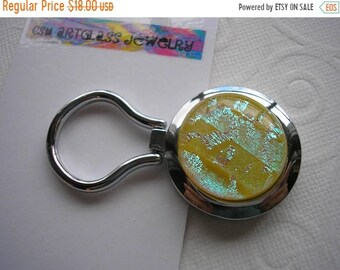 SPRING SALE Magnetic Brooch Cheerful Buttercup with Aqua Nurses Badge Holder Dichroic Glass Kiln Fired Yellow Jewelry Convert to Pendant Eye