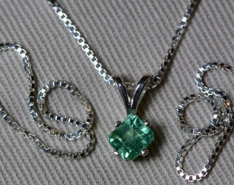 Emerald Necklace, Colombian Emerald Pendant 0.51 Carat Appraised 450.00, Sterling Silver, Real Natural Princess Cut Jewelry, May Birthstone