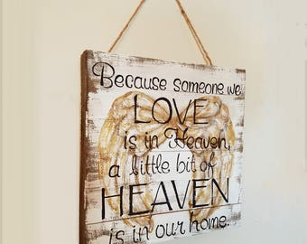 Angel Wings Memorial Painting-A beautiful gift when grieving the loss of a loved one. Free personalization. Barnwood or canvas wall decor.