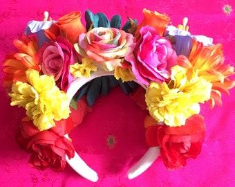 Rainbow Rose Flower Crown Festival Headpiece