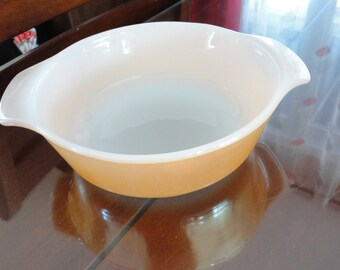 60s Fire King Peach Lustre casserole dish 7 1/2 inches diam #436
