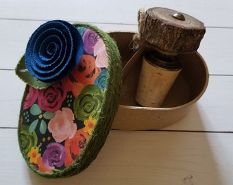 Treasure Box / Flower Keepsake Box / Blue Fabric Flower / Green Twine / Oval Box / Gift Box / Packaging / PaperFlowerVT