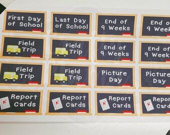 School Chalkboard Stickers! 48 Stickers! Great for Erin Condren, FiloFax, Kikki.K, or Plum Paper Planners (040/041) school