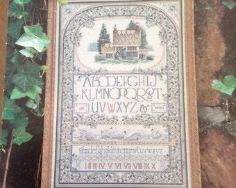 English Cottage Sampler, cross stitch sampler, vintage cross stitch, vintage sampler, heirloom cross stitch sampler,