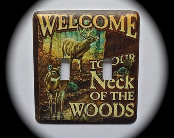 METAL Decorative Double Switch Plate ~ Outdoors, Welcome, Woods, Light Switchplate, Switch Plate Cover, Home Decor