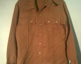 Vintage 70s Shirt Ranch Shirt Brown Pearl Button VINTAGE 1970s SHIRT ranch Country western