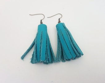 Turquoise Tassel Leather Earrings